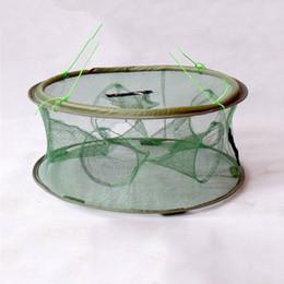Wholesale Trapping Net - Wholesale- Hot sale Portable Mesh Minnow 70x30cm Foldable Fishing Trap Baits Cast Net Crab Fish Shrimp Minnow 7 entrances k8356 Wholesale