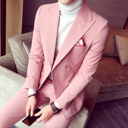 Wholesale Double Breasted Korean Suit - 2017 Spring Men Suits For Wedding Korean Fashion 3 Pieces Mens Pink Double Breasted Suits Slim Fit Tuxedos (Jacket+Pants+Tie)