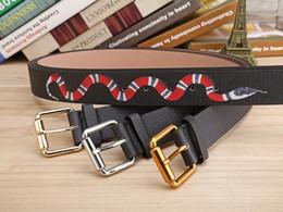 Wholesale Hot Color Leather - Hot Black color Luxury High Quality Designer Belts Fashion snake animal pattern buckle belt mens womens belt ceinture G optional attribute