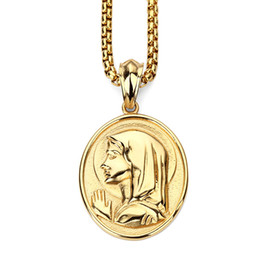 blessed plate charms Coupons - New Design Fashion Men Charm Blessed Virgin Mary Pendant Necklaces Hip Hop Jewelry Filling Pieces Men 18K Gold Platied Chains