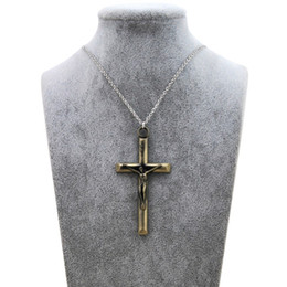 Wholesale Silver Cross Necklace Male - Original New Retro Cross Jesus Choker Necklace Women Vintage Silver INRI Crucifix Prayer Chain Necklace Men Christian Male Jewelry Gift