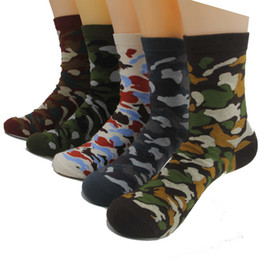 Wholesale Socks Playing - 5 colors new Mens Green army socks brand new Mans cotton Casual ankle Socks summer Camouflage style for team party playing games 100pair DHL