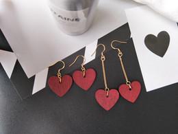 Wholesale Long Earrings For Women Cheap - Fashion 2017 wooden earrings for women red heart shaped long charm dangle earring jewelry wholesale cheap price