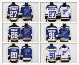 Wholesale Paul Stastny - 2018 New Style St. Louis Hockey 27 Alex Pietrangelo 20 Alexander Steen 26 Paul Stastny 91 Vladimir Tarasenko Ice Hockey Jerseys