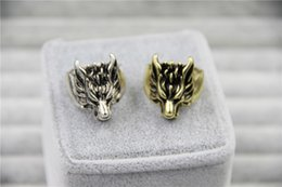 Wholesale Vintage Wolves - 2015 Fashion Jewely Vintage Charm Wolf Head Ring For Men And Women