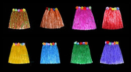 Wholesale Hawaii Flowers Free Shipping - 40 cm Popular Hawaii Tassel Child Adult Flower Hula Grass Skirt Fancy Costume Show SkirtHula grass skirts free shipping