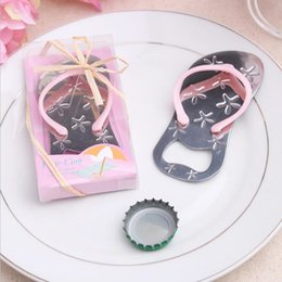 Wholesale Guest Flip Flops - Flip flop Beer bottle opener with starfish design wedding favor guest gift with PVC box Ribbon and rope Blue Pink