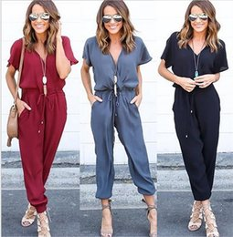 Wholesale Catsuits Hot Sexy - Hot Summer jumpsuits for women fashion V neck Cross Lacing Solid Chiffon Casual Sexy combinaison women jumpsuits Female catsuits Rompers