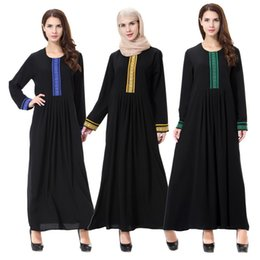 Wholesale Arab Embroidery - Women Long Ethnic Clothing Muslim Arab Dresses Solid Color Embroidery Traditional Fashion Mid-East Islam Clothing TH903