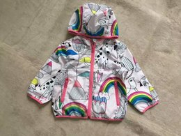 Wholesale Rainbow Dog Clothes - 2017 New Spring Baby Girl Jacket Floral Animal Dog Hooded Fashion Girl Outerwear Print Rainbow Girl Coat Kids Clothes