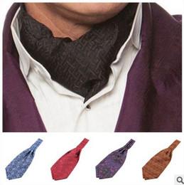 Wholesale men ascot tie - Mens Ascot scarf Paisley neck tie necktie Gentle Fashion jacquard men's ties polyester ascot Multi colors 2016 European
