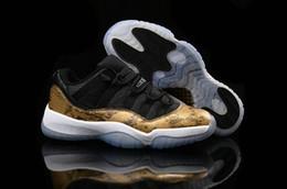 Wholesale Sports Skin Shoes - 2015 Retro 11 Low black yellow Snake Skin men basketball shoes cheap air retro 11 XI mens sport shoes