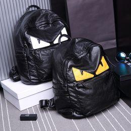 Wholesale Eye Backpack - Cute Eye Monster Sheepskin Bags Brand Design Women Shoulder Backpack Fashion Genuine Leather Backpacks Female   Male School Bag Soft Unisex