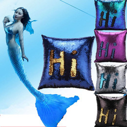 Wholesale Mermaid Sequins Pillow Case Sequin Pillowslip Magic Glamour Reversible Pillow Covers Sofa Bright Glitter Car Cushion Home Decorative KKA1334