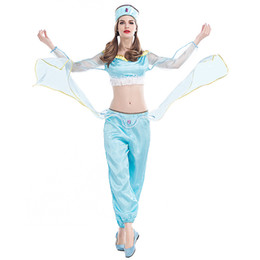 Wholesale India Clothing Costumes - Princess Of India Costume Princess Jasmine Aladdins lamp Belly Dance Clothing Indian Clothing Blue Carnival Party