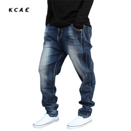 Wholesale Tapered Jeans Men - Wholesale- Plus Size M-5XL 2016 New Men's Hip hop Jeans Loose Harem Baggy Tapered Pants Trousers Fashion men cross-pants