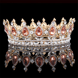 Wholesale Silicone Hair Accessories - Bridal Champagne Pageant Crowns Elegant Western Crystals Shiny Cheap Jewelry Wedding Hair Accessories Tiara Noiva Rhinestones Baroque Tiaras