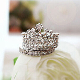 Wholesale Golden Great - Lowest Price Women's Crown Statement Ring 2 Band Stack Rhinestone Alloy Jewelry Gift Golden 96CJ