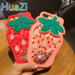 Iphone rosa bling en venta-3D Red Pink Strawberry IPhone Funda para IPhone7 7Plus 6 6S Plus Suave Silicona Bling Glitter Star Liquido Quicksand Contraportada