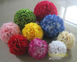 Wholesale Cheap Christmas Ornaments Free Shipping - Cheap Artificial Fuchsia Rose Silk Flower Kissing Balls For Christmas Ornaments Wedding Party Decorations Supplies Top Quality Free Shipping