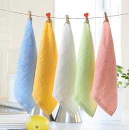 Wholesale Baby Facecloth - Bamboo fiber facecloth towel child small soft convenient wash the face towels 25x25cm Towel Washcloth Hand Towel 5 color KKA2174