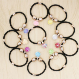 Wholesale Elastic Hair Band Shine - 2017 New Hair Jewelry Multicolor Glass Ball Hair Rubber Bands Elastic Shining Star Hair Jewelry Rope For Women