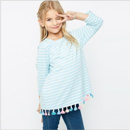Wholesale Loose Long Shirts Girls - Spring Teenager Striped Tassel T-shirts Junior Fashion Casual Tees Big Baby Girl Loose Jumper tops 2017 Children's clothing