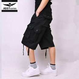 Wholesale Ethnic Clothing Men - Wholesale- ethnic short homme nylon crossfit mens lounge crossfit shorts with pockets male combat green black loose clothes knee length 228