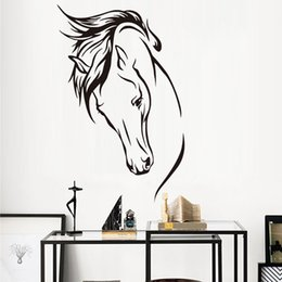 Wholesale Wall Decals Horses - Home Decor Stickers DCTOP Hot Sale Vinyl Removable Decal Head Of Horse Wall Sticker Wall Murals Living Room Decorative Animal