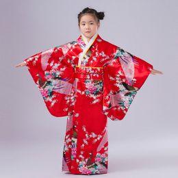 Wholesale japanese pink girls - Free Shipping New Child Novelty Cosplay Floaral Dress Japanese Baby Girl Kimono Dress Children Vintage Yukata Kid Girl Dance Costumes