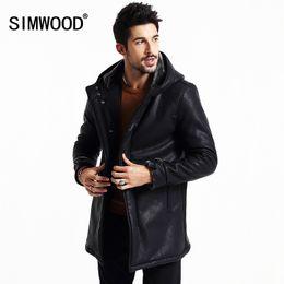 Wholesale Men S Leather Parkas - Wholesale- SIMWOOD Brand 2016 New Winter Leather long jacket men coats casual warm parkas slim fit clothing P2503