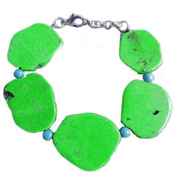 Wholesale Wholesale Fishing Hooks China - Woman Bracelet 20x35mm Apple Green Turquoise Slice Stone Handmade Adjustable