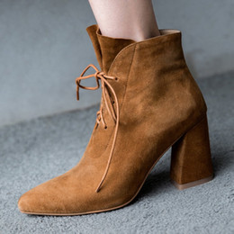 Wholesale Ladies Suede Lace Up Boots - 2017 New Autumn Pointed Toe Lace-Up Chunky High Heels Suede Genuine Leather Women Ankle Boots Black Brown Sexy Ladies Shoes Drop Shipping