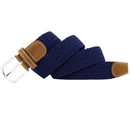 Ceinture bleu en Ligne-Vente en gros - Nouveaux hommes unisexes stretch en cuir tressé élastique boucle ceinture Ceinture bleu foncé