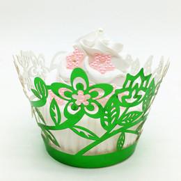 кружевные кексы обертки оптом Скидка Урожай день рождения кекс обертки зеленый цветок кружева кекс упаковка торт коробки партия выступает свадебные поставки Оптовая