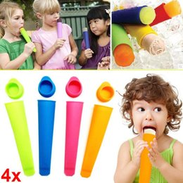 Wholesale DIY Silicone Popsicle Molds and Pop Ice Cream Maker Tube Tray With Attached Lids and Recipe