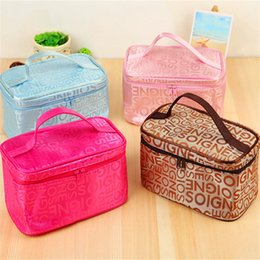 Wholesale Korean Fashion Wholesale Free Shipping - 4 Colors Letter Makeup Bags Cases Fashion Square Waterproof Makeup Bags Beauty Case Pink Blue Red Brown With High Quality Free Shipping