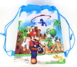 Wholesale Super Mario Backpacks For Kids - 12Pcs lot Super Mario Bros Backpacks Cartoon Drawstring Bag School Bags for Childrem Kids Birthday Party Favor Shopping Bags Party Gifts