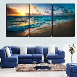 Wholesale Beach Decor For Home - 3pcs set Unframed Sunset Beach Blue and Golden Seascape Painting Oil Painting On Canvas Giclee Wall Art Painting Art Picture For Home Decor