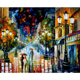 Wholesale Rain Light Oil - contemporary landscape painting light through the rain Leonid Afremov art on canvas hand-painted Home decor