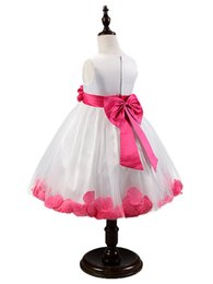 Wholesale Wedding Gown Rose Petal - Wholesale- New Tulle Flower Girl Dress With Sashes Lace rose Petal Kids Dress For Girls High Quality Girl Dress for Wedding Vestido