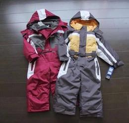 Wholesale children ski suit - winter Rompers kids clothing boy outdoor waterproof coat small children ski suit girls overall windproof jumpsuit cotton padded