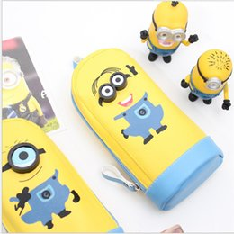 Wholesale Despicable Stationery - Wholesale-Cute Cartoon Despicable Me Minions Pencil Cases Kawaii School Suppliers Pencil Box Stationery Pen Pencil Bags For Childs 0431