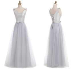 Wholesale Juniors Bridesmaid - Real 2018 Silver Junior Bridesmaid Dresses V Neck Sleeveless A Line Floor Length Long Tulle With bow Cheap Bridesmaid Dresses