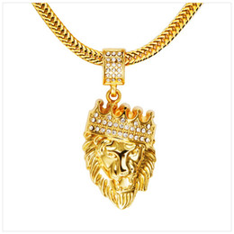 Wholesale Titanium Gold Chain Mens - Mens' Hip Hop Jewelry Iced Out Bling Bling Gold Plated Lion Head Pendant Men Necklace Gold Filled For Gift Present Free shipping