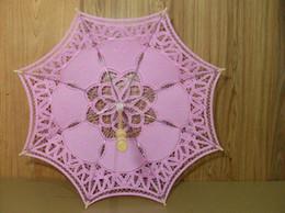 Wholesale Decorating Weddings Lights - Pink 30cm Lace Parasol Umbrella Embroider For Bridal Wedding Decorate HXP001Style Lace Parasol Chic Handmade lace parasol hand um
