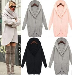 Wholesale Wool Coat Parka - 2017 Winter Womens Wool Blends Coat Long Sleeve Hooded Plus Size 4XL Trench Coat Windbreaker Parka Fashion Loose Pocket ladies Outwear