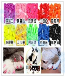 Wholesale Dog Nail Covers - hot 20pcs lot Soft Pet Dog Cats Kitten Paw Claws Control Nail Caps Cover wraps catlike sets cat armor nail cap with glue