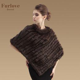 Wholesale Knitted Rabbit Poncho - Wholesale-2016 New Real Rabbit Fur Shawl Fashion Women Genuine Rabbit Fur Poncho Knitted Natural Rabbit Fur Cape