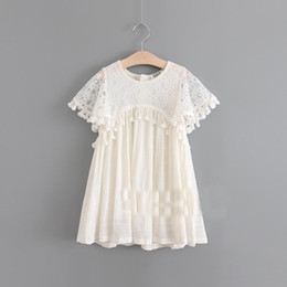 Wholesale Fringe Wholesale - Everweekend Girls Summer Lace Party Dress with Fringe Tassels Ruffles Beige Color Princess Western Fashion Holiday Dresses